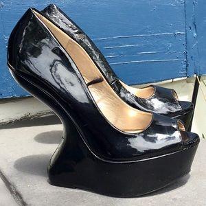 Gothic Fetish Patent Inset Platform Heels